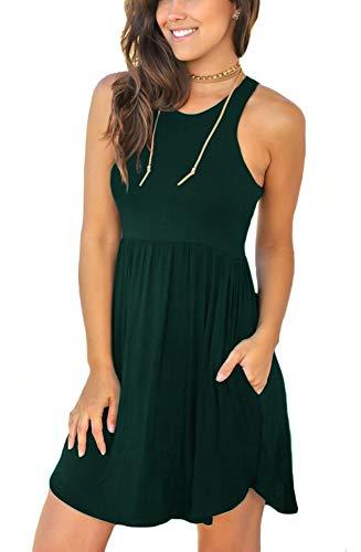 (LONGYUAN Women's Summer Work Casual Clothes Sleeveless Round Neck Beach Dresses with Pockets Dark Green XS)