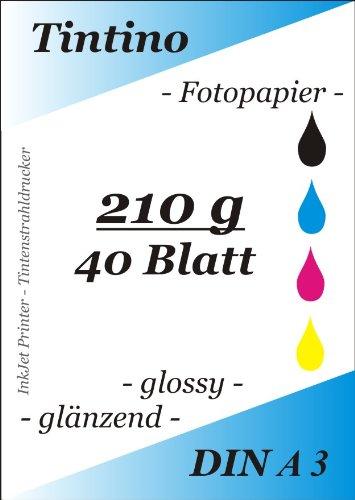 40/hojas//Blanco brillante Papel Photo formato A3//210/G//m/² brillante//seca imm/édiatement impermeable brillante para impresoras de inyecci/ón de tinta