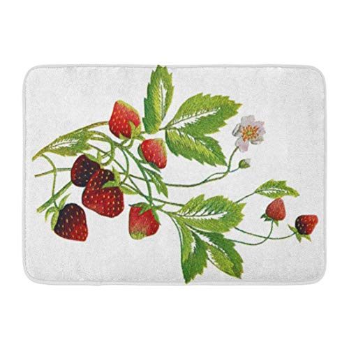 cross ctA Bath Mat Crewel Faux Embroidered Strawberry Needlepoint Arts Crafts Sewing Bathroom Decor ()