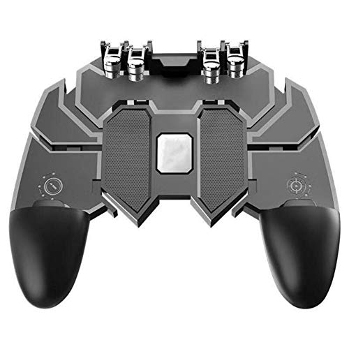 QLPP Mobile Gaming Grip,Mobile Game Controller,with Six-Finger Linkage for PUBG/Fortnite/Rules of Survival Gaming Grip,Suitable for 4.7-6.5 inch iOS Android Phone