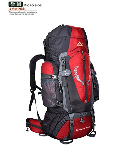 Fengtu External Frame Backpacks 80L+ 5L backpacks for men women hiking camping large backpacks profession waterproof sports bags package (red, 85L)