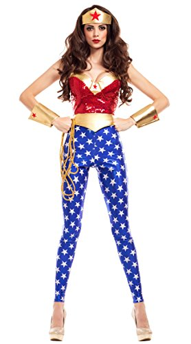 Party King Women's Wonderlady Costume, red/Multi