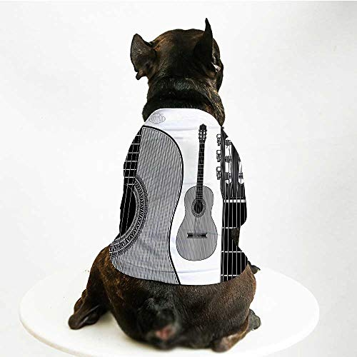 YOLIYANA Guitar Cute Pet Suit,Monochrome Design Striped Acoustic Classical Instruments Folk Country Music Concert Decorative for Small Medium Large Size Dogs Cats,S