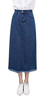 Plaid&Plain Women's Casual Tassel Hem A-Line Below Knee Denim Midi Skirts
