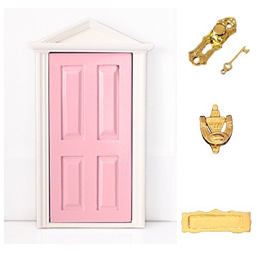 dreamflyingtech 1:12 Miniature Pink Wooden Fairy Dollhouse Door Steepletop with Hardware (Dollhouse Door)