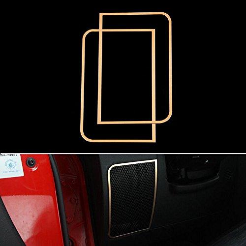 UltaPlay Car Styling Dashboard Sound Speaker Cover Trim Interior Decor Frame Molding Chrome ABS Sticker For Jeep Wrangler JK 2011-2016 [Gold]