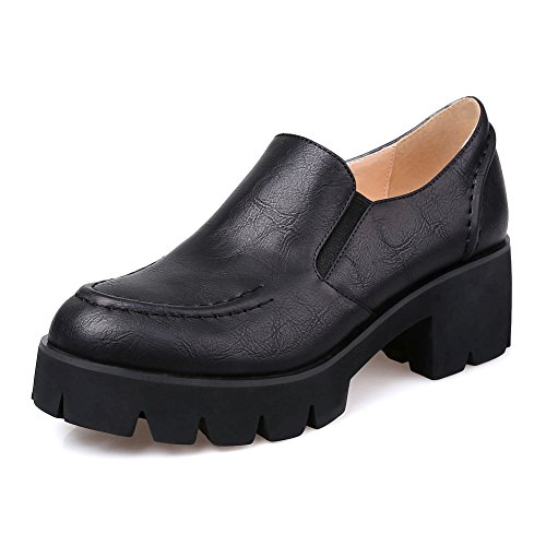 AdeeSu Ladies Chunky Heels Platform Round-Toe Fabric-And-Synthetic Oxfords Shoes Black