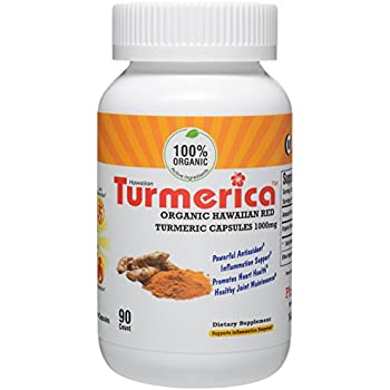 Organic Hawaiian Turmeric Curcumin 1000mg Capsules, USDA Hawaiian Turmeric with no other fillers, Made in the USA, 90 Vegetarian Capsules