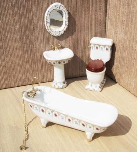 Dolls & Bears Vtg Dollhouse Miniature Doll House Wood Modern Bathroom Tub Furniture Fixture