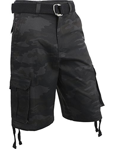 Hat and Beyond Mens Twill Cargo Shorts with Belt Loose Fit Cotton Multi Pocket Outerwear (50/1ih03_Black camo) ()