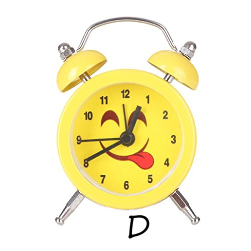 Alarm Clock,CieKen Emoji Emoticon Twin Bell Silent Alloy Stainless Metal Alarm Clock (Pattern D) by CieKen Alarm Clock (Image #1)