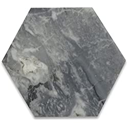 Bardiglio Gray Italian Dark Grey Marble Hexagon Tile 6 inch Polished