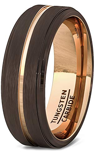 Duke Collections Mens Wedding Band 8mm Rare Brown Brushed Tungsten Ring Thin Rose Gold Groove Step Edge Comfort Fit (9.5) ()