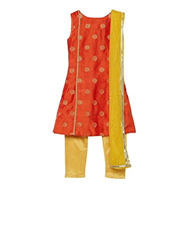 Designer Salwar Kurta - K&U Girls' Orange & Yellow Brocade Net Salwar Kurta Dupatta