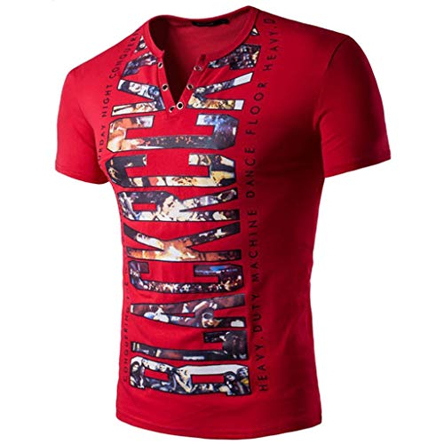 Men's Short Sleeve Solid Comfortable Buttons Casual Slim T-Shirt Sport Tops Red ()