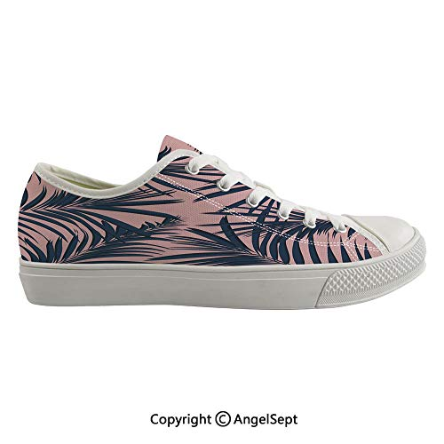 (Durable Anti-Slip Sole Washable Canvas Shoes 13.77inch Summer Exotic Floral Tropical Palm Tree Leaf Banana Plant Hawaii Decorative,Night Blue Pale Pink Flexible and Soft Nice Gift)