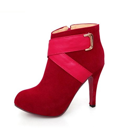 Ei&iLI Chaussures talons hauts cheville Bootie femme / a souligné Toe Boots Dress/Casual , red , 37