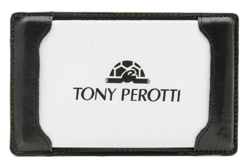 Tony Perotti Italian Bull Leather [Personalized Initials Embossing] Express Pocket Memo Pad Writing Jotter in Black - Personalized Jotter