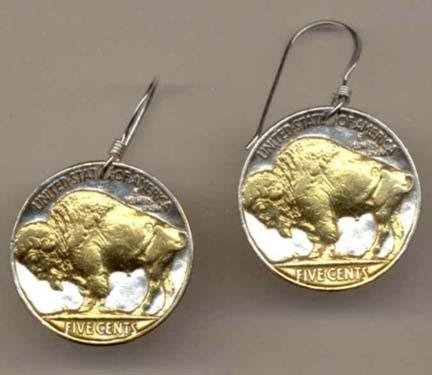 Buffalo Nickel Two Tone Coin Earrings