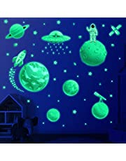 Glow in The Dark Stars for Ceiling, Solar System Wall Stickers for Kids, Planet Wall Decals, Glowing Stars, Space Decor for Boys Room, Galaxy Astronaut Rocket Spacecraft Alien Decoration