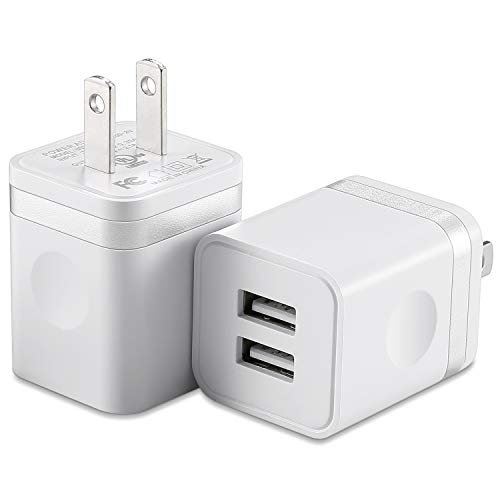 USB Wall Charger, (UL Certified) HI-CABLE 2-Pack 2.1A/5V Dual Port USB Plug Power Adapter Charging Block Cube Compatible with iPhone X XR Xs Max 8/7/6/6S Plus SE/5S, iPad, Samsung, Android Cell Phones