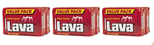 Lava Heavy-duty Hand Cleaner Pumice Powdered, 3 Value Packs (6 Bars)