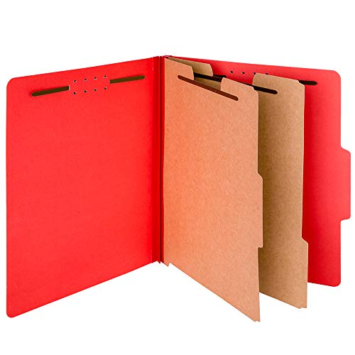 Office Ray Pressboard Expandable Classification File Folder with Prongs, Tabs, 2 Dividers, 2 Fasteners, 2.5-inch Expansion, Letter Size | Pack of 10 Folders | Perfect for Organizing Important Files |