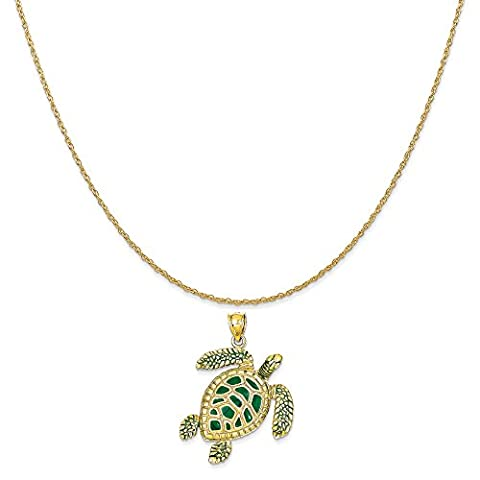 14k Yellow Gold 3-D Enameled Sea Turtle Pendant on 14K Yellow Gold Rope Chain Necklace, 16