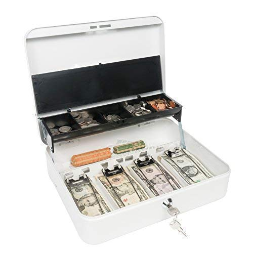 Certus Global Large Cash Box with Money Tray, Secure Lock, Cantilever Coin Tray 4 Bills/ 5 Coins (Crisp White)