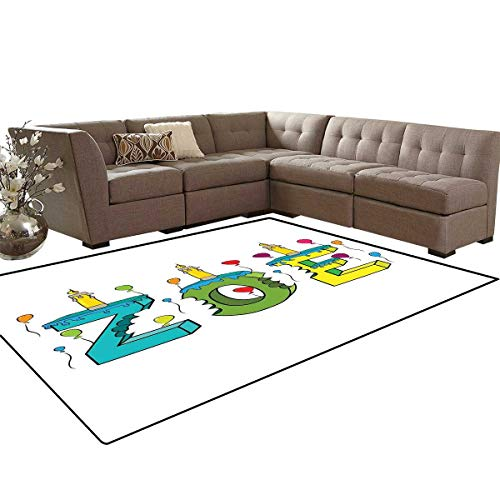 Zoe Bath Mats for Floors Colorful Festive Social Gathering Themed Girl Name Design with Birthday Candles Pattern Floor Mat Pattern 5'x7' Multicolor
