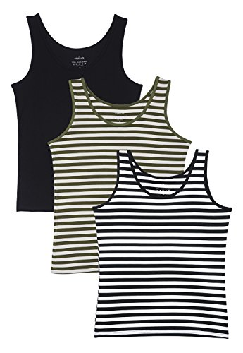 Vislivin Womens Supersoft Camisole Stretch Casual Tank Tops Black/Gree/Black Stripe S