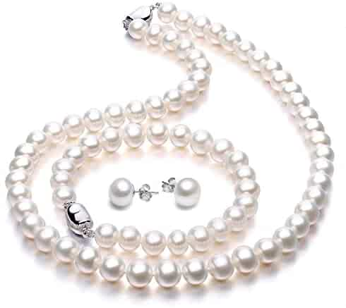 Freshwater Cultured Pearl Necklace Set Includes Stunning Bracelet and Stud Earrings Jewelry for Women - VIKI LYNN