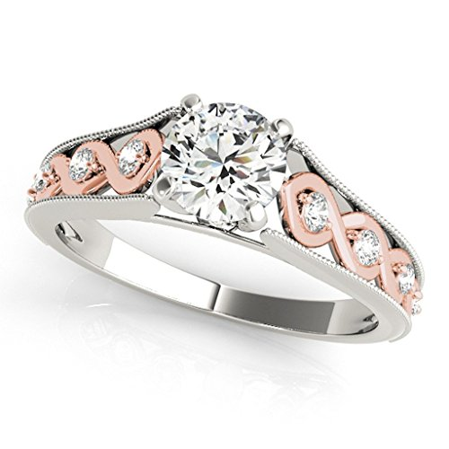 0.50 Ct. Halo Two-Tone Antique Diamond Engagement Ring In 14k Solid Rose & White Gold