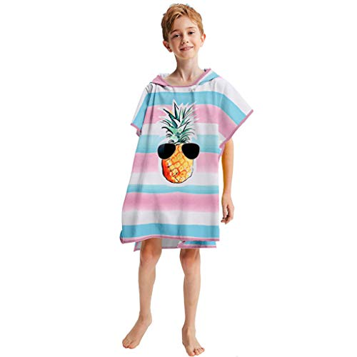 - Kids Beach Towel T-Shirt Boys Girl Floral Printed Short Sleeve Loose Hooded Summer Bathrobe Tee Gift (Free, Multicolor)