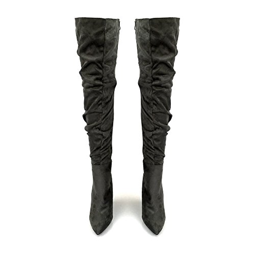 Callie Ladies Women High Stiletto Heel Over The Knee Ruched Boot GREY SUEDETTE b24pdF7