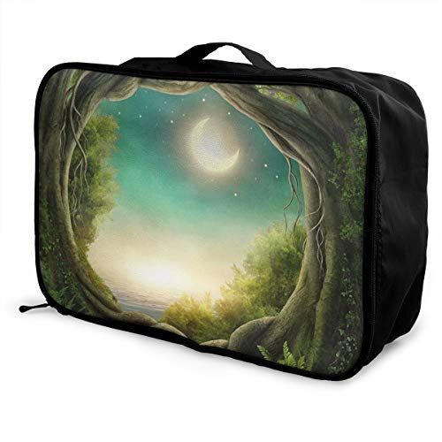 Charm Trend Fairy Forest Night Lightweight Waterproof Large Travel Duffel Bag Rolling Packable Extra Overnight Luggage Bags For Camping Gym Bags For Men/Women]()