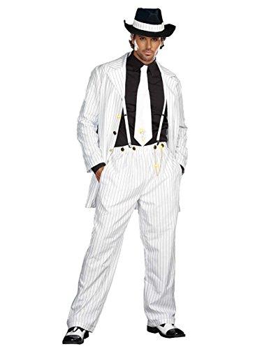 Dreamgirl Men's Zoot Suit Riot Costume, White/Black,