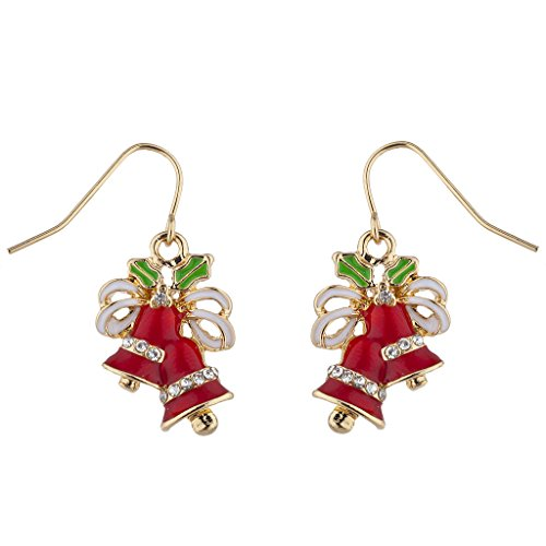 Bell Clip Earrings - Lux Accessories Holiday Christmas Xmas Red Green White Crystal Bell Drop Earring