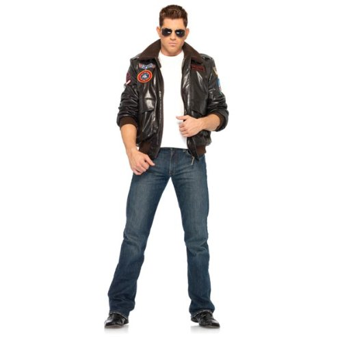 [Top Gun Men's Bomber Jacket Halloween Costume - Adult Size Large] (Top Gun Womens Bomber Jacket Costume)