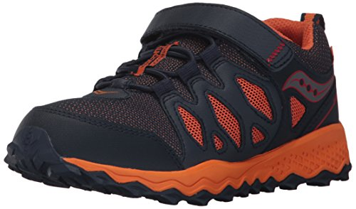 Saucony Peregrine Shield A/C Running Shoe (Little Kid/Big Kid), Navy/Orange, 2 Medium US Little Kid - Kid Kick Shield
