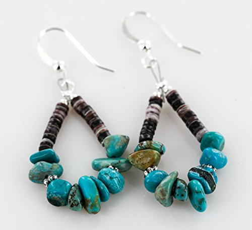 Navajo Native American Turquoise Ring ($80 Retail Tag Authentic Made By Charlene Little Navajo Silver Hooks Natural Turquoise HEISHI HOOP Native American Earrings)