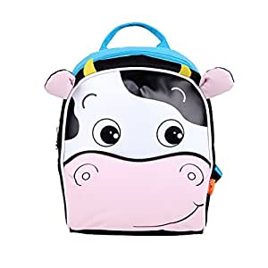 Yodo Kids Insulated Toddler Backpack with Safety Harness Leash and Name Label - Playful Preschool Lunch Boxes Carry Bag, Cow
