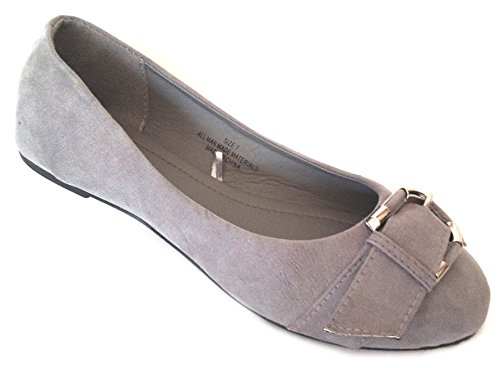 Shoes 18 Womens Faux Leather Ballerina Ballet Flats Shoes W/Buckle (7, Grey Micro Suede 5058)