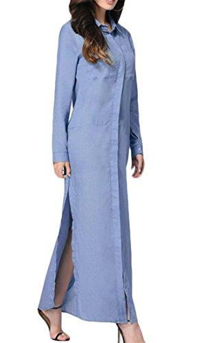 Cromoncent Des Femmes De Côté De La Poche De Revers Solide Décontracté À Manches Longues Bleu Fente Longue Robe