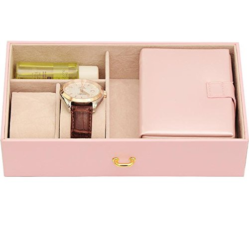 The Muse's Magic box Jewelry Box Watch Storage Organizer w/ Lock Mirror and Mini Travel Case , White by The Muse's Magic box (Image #2)