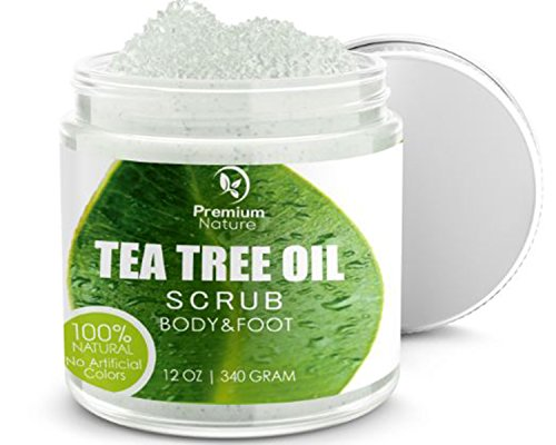 Antifungal Tea Tree Body & Foot Scrub - 12 oz 100% Natural Antibacterial Exfoliator - Best Fungal Treatment Prevents Acne Dandruff Calluses Athlete's Foot Jock Itch - Premium Nature (Foot Exfoliator)