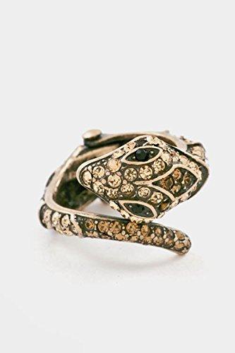 Trendy Fashion Jewelry Snake Rhinestone Hinge Ring By Fashion Destination | (Burnished Gold) (Ring Prices Tacori)