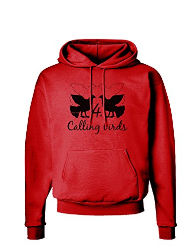 (TooLoud Four Calling Birds Text Hoodie Sweatshirt - Red - Small )