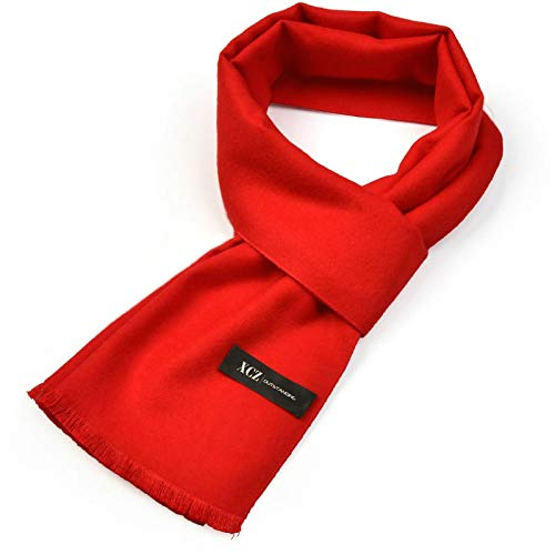 Beydodo Winter Scarf Cotton 180x30CM Solid Color Scarf Cotton Scarfs for Women Fall Scarf Red -