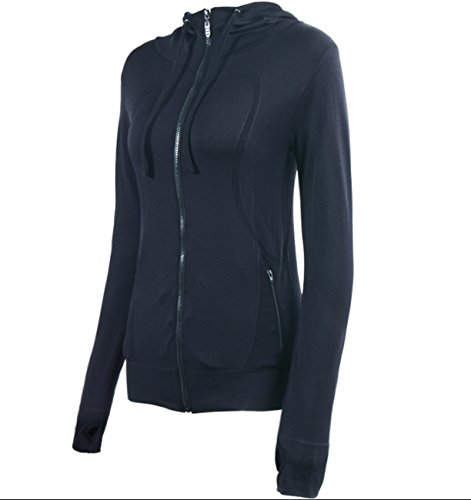 Athletic Hooded Jacket (HIYAGO Lightweight Active Performance Full-Zip Hoodie Jacket(Black) L)